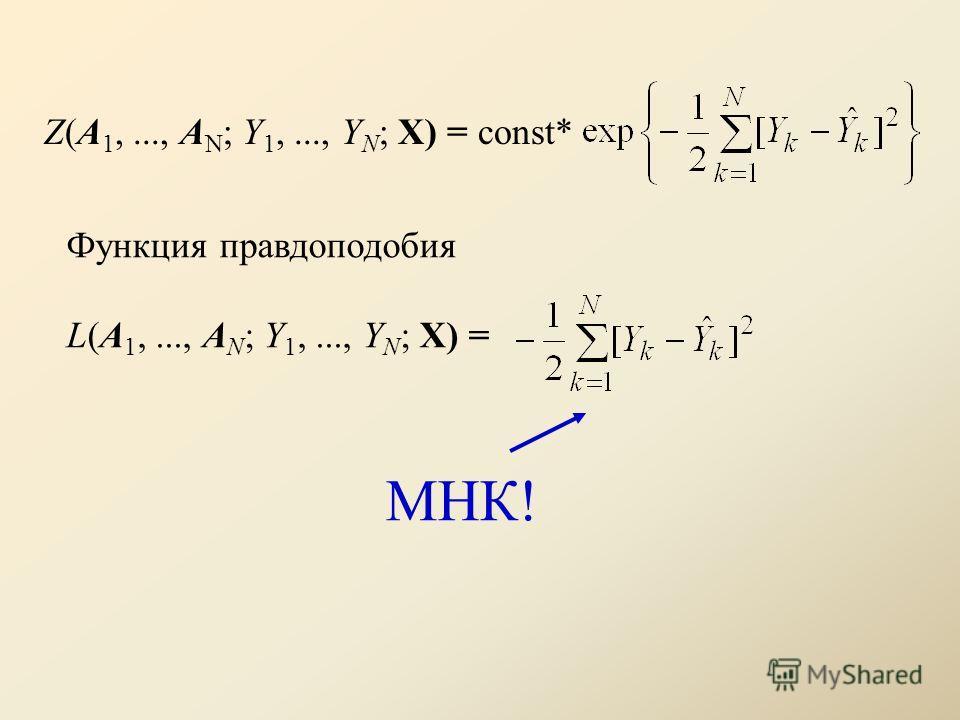 Функция правдоподобия L(A 1,..., A N ; Y 1,..., Y N ; X) = Z(A 1,..., A N ; Y 1,..., Y N ; X) = const* МНК!