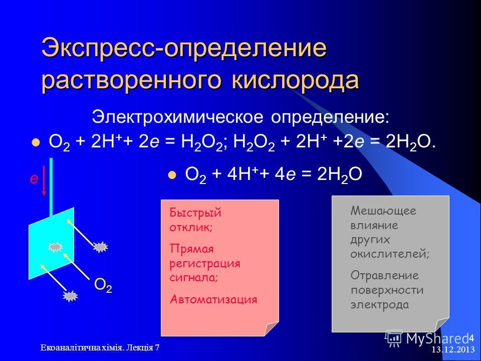 13.12.2013 Екоаналітична хімія. Лекція 7 4 Экспресс-определение растворенного кислорода Электрохимическое определение: О 2 + 2Н + + 2е = Н 2 О 2 ; Н 2 О 2 + 2Н + +2е = 2Н 2 О. е О2О2 О 2 + 4Н + + 4е = 2Н 2 О Быстрый отклик; Прямая регистрация сигнала