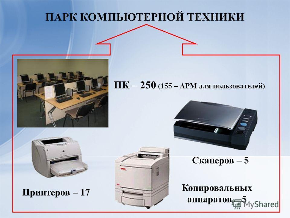 ПАРК КОМПЬЮТЕРНОЙ ТЕХНИКИ Принтеров – 17 ПК – 250 (155 – АРМ для пользователей) Сканеров – 5 Копировальных аппаратов – 5