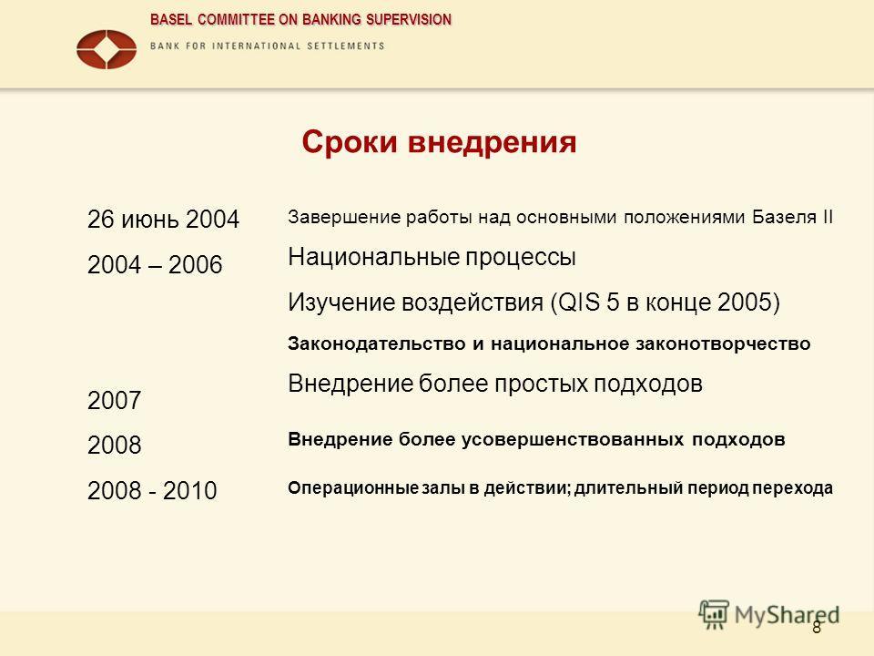 BASEL COMMITTEE ON BANKING SUPERVISION 8 Сроки внедрения 26 июнь 2004 2004 – 2006 2007 2008 2008 - 2010 Завершение работы над основными положениями Базеля II Национальные процессы Изучение воздействия (QIS 5 в конце 2005) Законодательство и националь