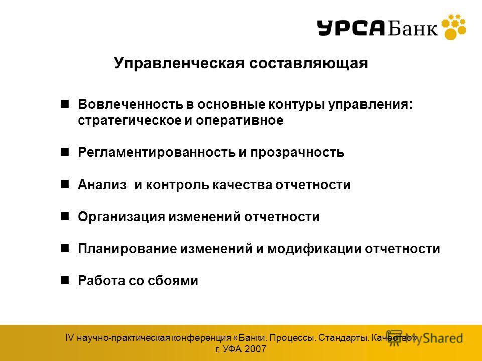 IV научно-практическая конференция «Банки. Процессы. Стандарты. Качество» г. УФА 2007 Управленческая составляющая Вовлеченность в основные контуры управления: стратегическое и оперативное Регламентированность и прозрачность Анализ и контроль качества