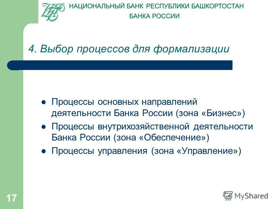 17 4. Выбор процессов для формализации Процессы основных направлений деятельности Банка России (зона «Бизнес») Процессы внутрихозяйственной деятельности Банка России (зона «Обеспечение») Процессы управления (зона «Управление»)