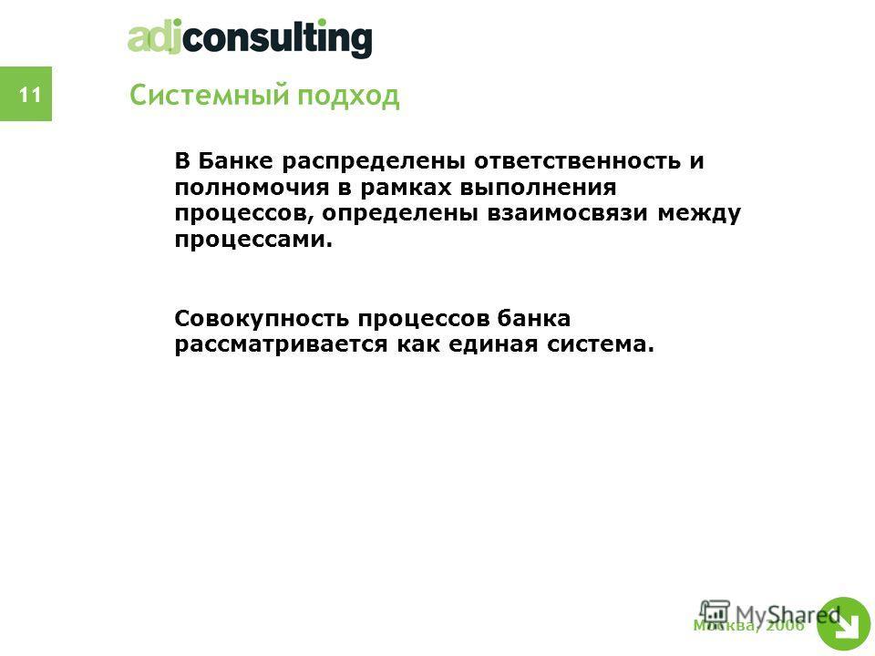 11 Москва, 2006 Системный подход В Банке распределены ответственность и полномочия в рамках выполнения процессов, определены взаимосвязи между процессами. Совокупность процессов банка рассматривается как единая система.