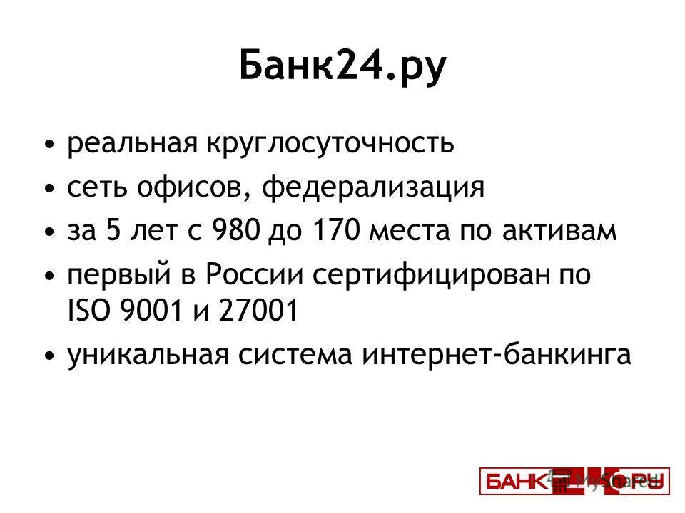 Банк24.ру реальная круглосуточность сеть офисов, федерализация за 5 лет с 980 до 170 места по активам первый в России сертифицирован по ISO 9001 и 27001 уникальная система интернет-банкинга