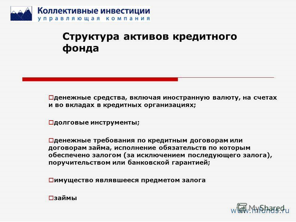 Структура активов кредитного фонда www.mfunds.ru денежные средства, включая иностранную валюту, на счетах и во вкладах в кредитных организациях; долговые инструменты; денежные требования по кредитным договорам или договорам займа, исполнение обязател