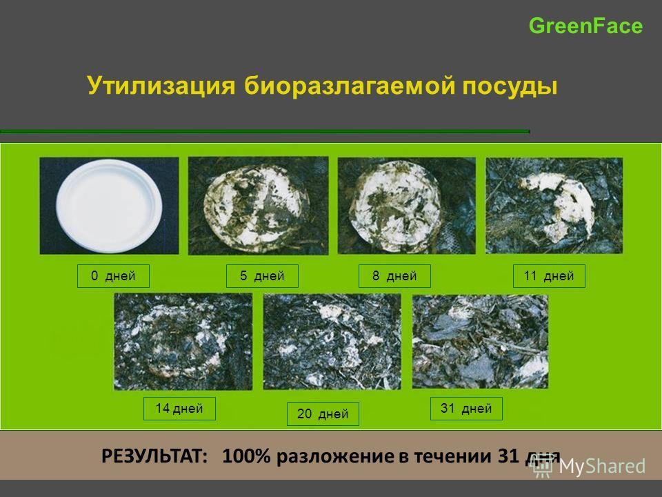 РЕЗУЛЬТАТ: 100% разложение в течении 31 дня Утилизация биоразлагаемой посуды 0 дней5 дней8 дней11 дней 14 дней 20 дней 31 дней GreenFace