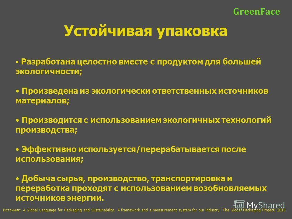 GreenFace Устойчивая упаковка Разработана целостно вместе с продуктом для большей экологичности; Произведена из экологически ответственных источников материалов; Производится с использованием экологичных технологий производства; Эффективно использует