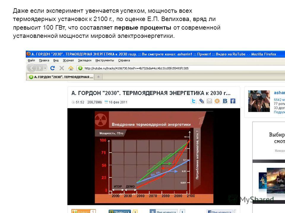 Даже если эксперимент увенчается успехом, мощность всех термоядерных установок к 2100 г., по оценке Е.П. Велихова, вряд ли превысит 100 ГВт, что составляет первые проценты от современной установленной мощности мировой электроэнергетики.