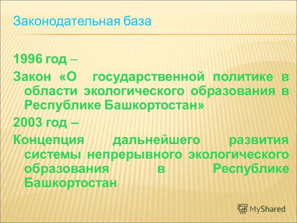 Законодательная база 1996 год – Закон «О государственной политике в области экологического образования в Республике Башкортостан» 2003 год – Концепция дальнейшего развития системы непрерывного экологического образования в Республике Башкортостан