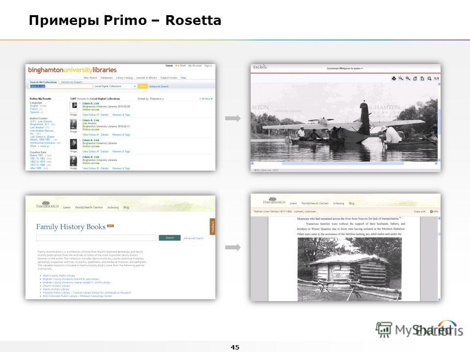 45 Примеры Primo – Rosetta