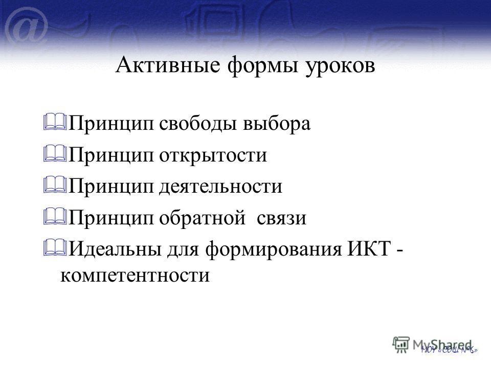 Активные формы уроков Принцип свободы выбора Принцип открытости Принцип деятельности Принцип обратной связи Идеальны для формирования ИКТ - компетентности МОУ «СОШ 6»