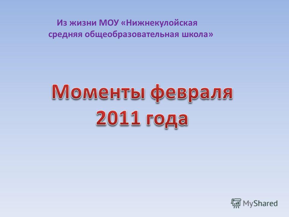 Из жизни МОУ «Нижнекулойская средняя общеобразовательная школа»