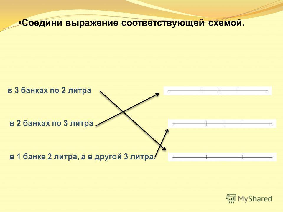 Соедини выражение соответствующей схемой. в 3 банках по 2 литра в 2 банках по 3 литра в 1 банке 2 литра, а в другой 3 литра.