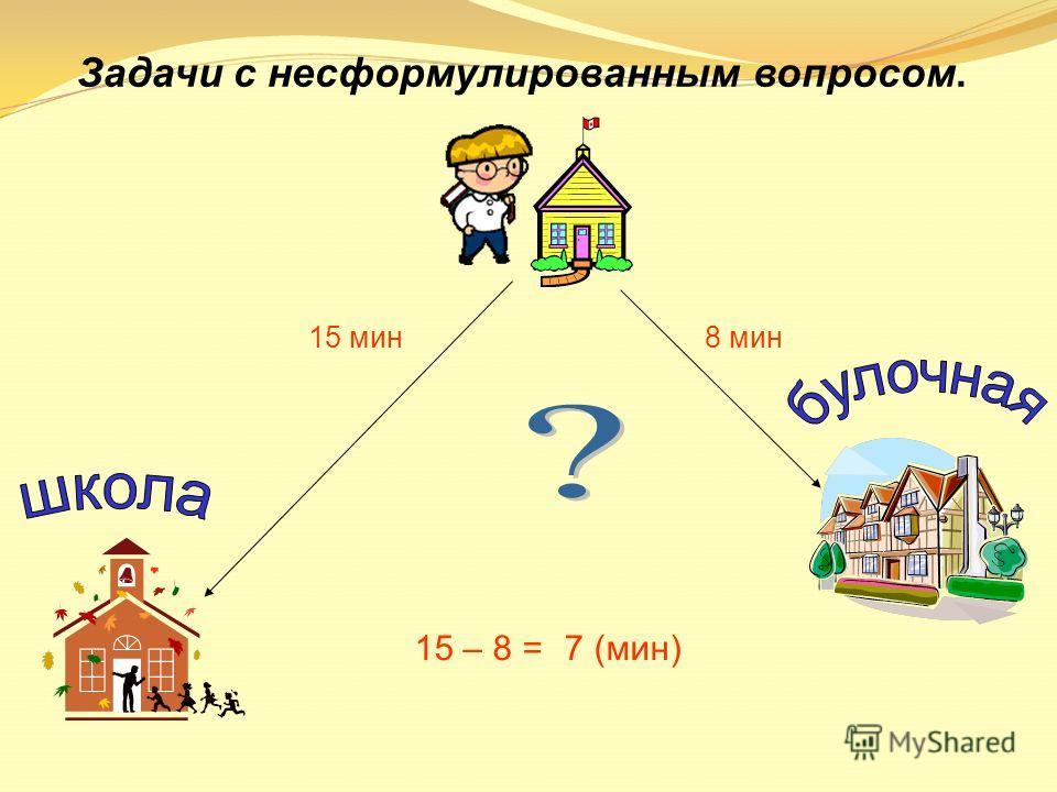 Задачи с несформулированным вопросом. 15 мин8 мин 15 – 8 =7 (мин)