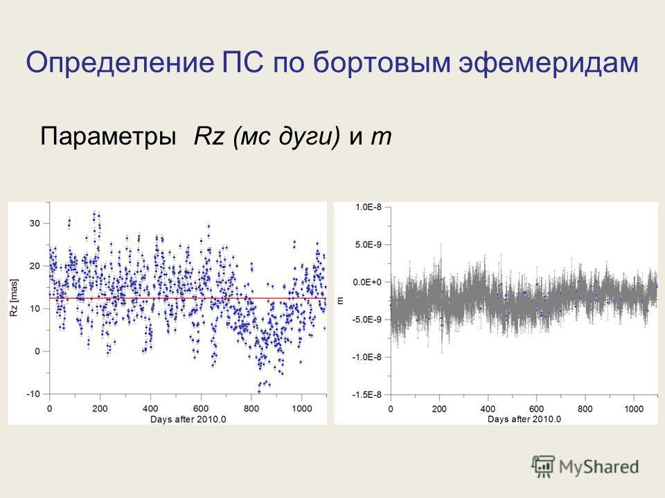 Параметры Rz (мс дуги) и m Определение ПС по бортовым эфемеридам