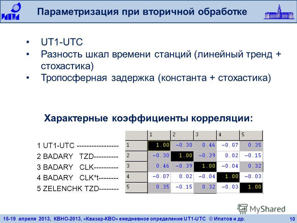 15-19 апреля 2013, КВНО-2013, «Квазар-КВО» ежедневное определение UT1-UTC © Ипатов и др. 10 Параметризация при вторичной обработке 1 UT1-UTC ----------------- 2 BADARY TZD---------- 3 BADARY CLK---------- 4 BADARY CLK*t-------- 5 ZELENCHK TZD--------