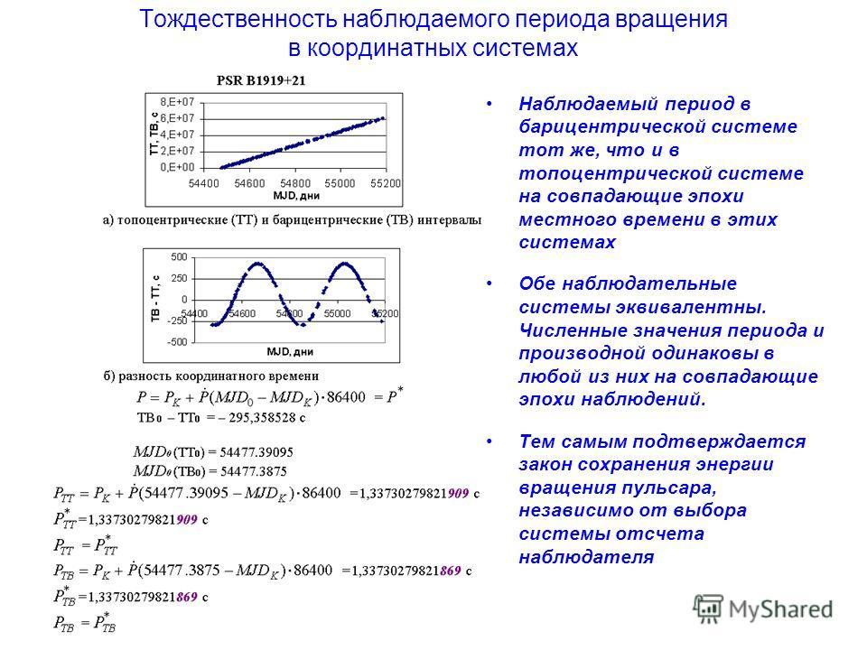 Тождественность наблюдаемого периода вращения в координатных системах Наблюдаемый период в барицентрической системе тот же, что и в топоцентрической системе на совпадающие эпохи местного времени в этих системах Обе наблюдательные системы эквивалентны