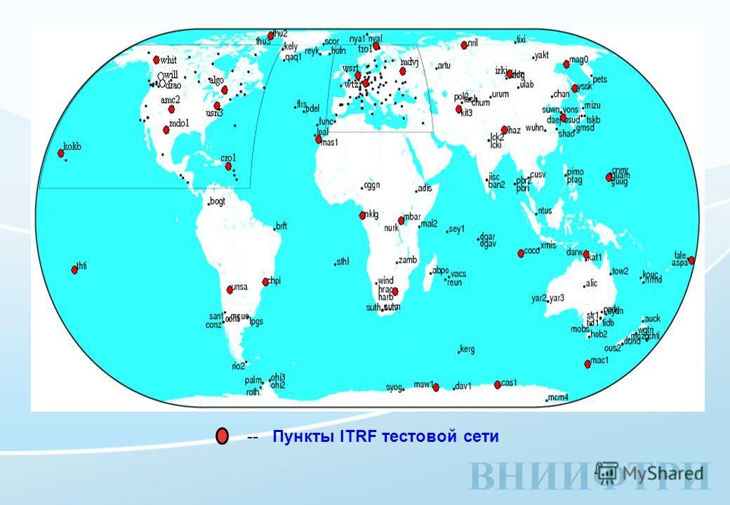 -- Пункты ITRF тестовой сети