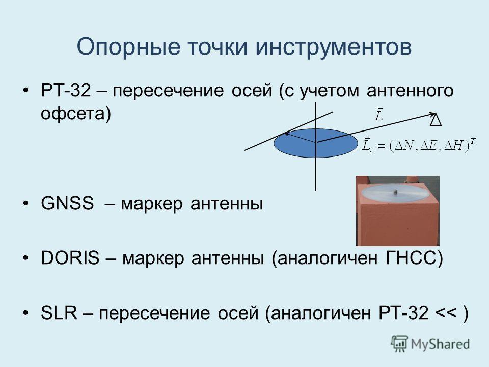 Опорные точки инструментов РT-32 – пересечение осей (с учетом антенного офсета) GNSS – маркер антенны DORIS – маркер антенны (аналогичен ГНСС) SLR – пересечение осей (аналогичен РТ-32
