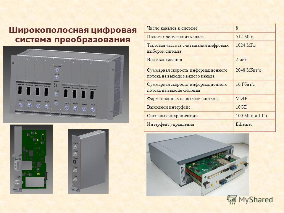 Широкополосная цифровая система преобразования сигнала Число каналов в системе8 Полоса пропускания канала512 МГц Тактовая частота считывания цифровых выборок сигнала 1024 МГц Вид квантования2-бит Суммарная скорость информационного потока на выходе ка