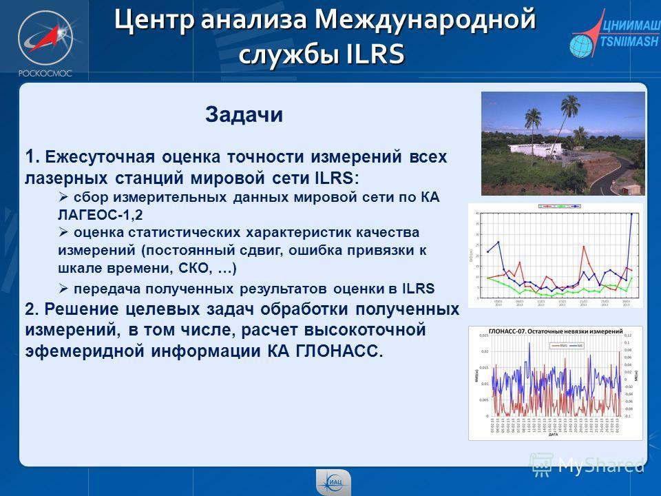 9 Центр анализа Международной службы ILRS Центр анализа Международной службы ILRS Задачи 1. Ежесуточная оценка точности измерений всех лазерных станций мировой сети ILRS: сбор измерительных данных мировой сети по КА ЛАГЕОС-1,2 оценка статистических х