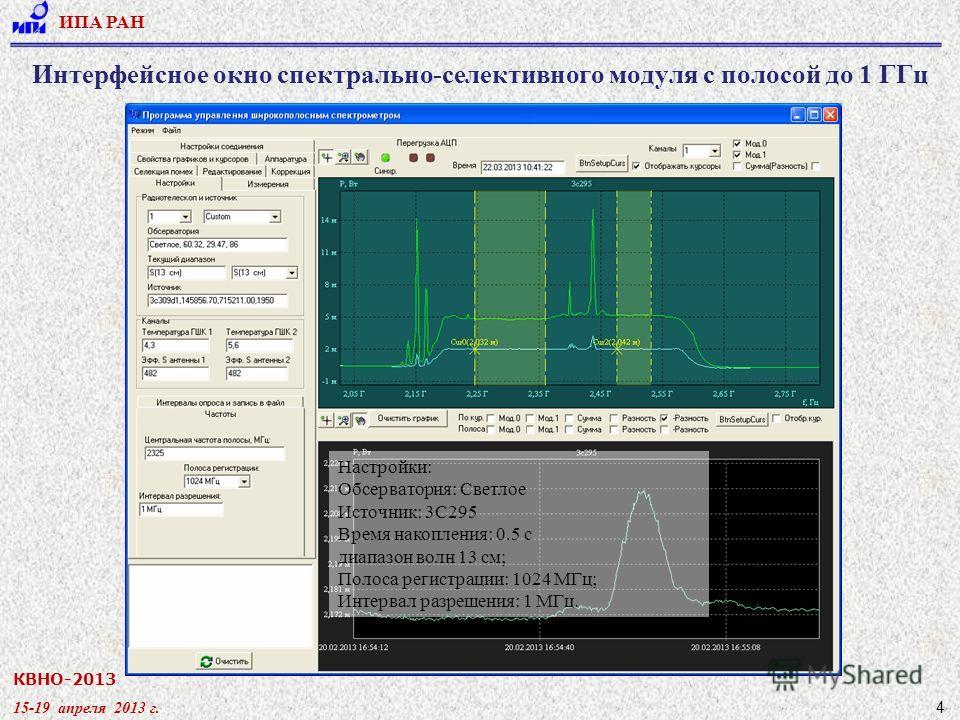 КВНО-2013 15-19 апреля 2013 г. ИПА РАН 4 Интерфейсное окно спектрально-селективного модуля с полосой до 1 ГГц Настройки: Обсерватория: Светлое Источник: 3С295 Время накопления: 0.5 с диапазон волн 13 см; Полоса регистрации: 1024 МГц; Интервал разреше