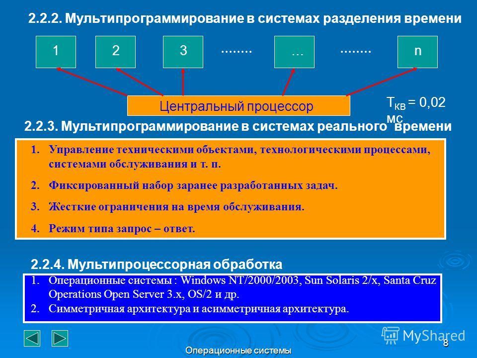 Операционные системы 8 2.2.2. Мультипрограммирование в системах разделения времени 123…n Центральный процессор T КВ = 0,02 мс 2.2.3. Мультипрограммирование в системах реального времени 1.Управление техническими объектами, технологическими процессами,