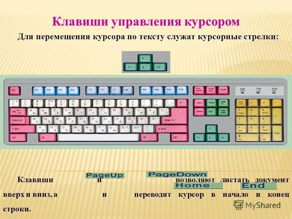 Клавиши управления курсором Клавиши и позволяют листать документ вверх и вниз, а и переводят курсор в начало и конец строки. Для перемещения курсора по тексту служат курсорные стрелки: