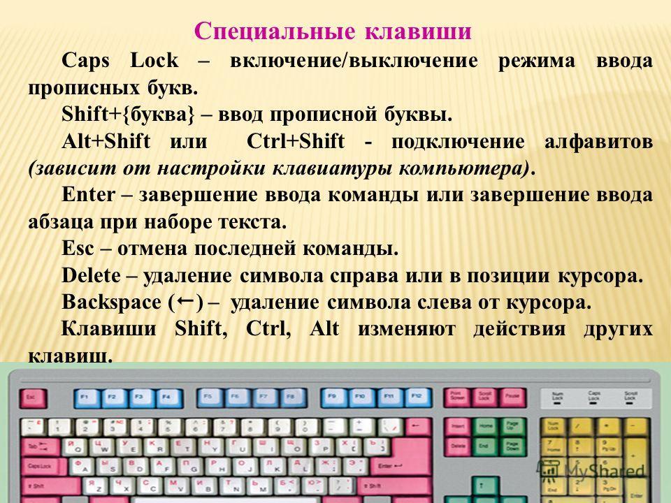 Caps Lock – включение/выключение режима ввода прописных букв. Shift+{буква} – ввод прописной буквы. Alt+Shift или Ctrl+Shift - подключение алфавитов (зависит от настройки клавиатуры компьютера). Enter – завершение ввода команды или завершение ввода а