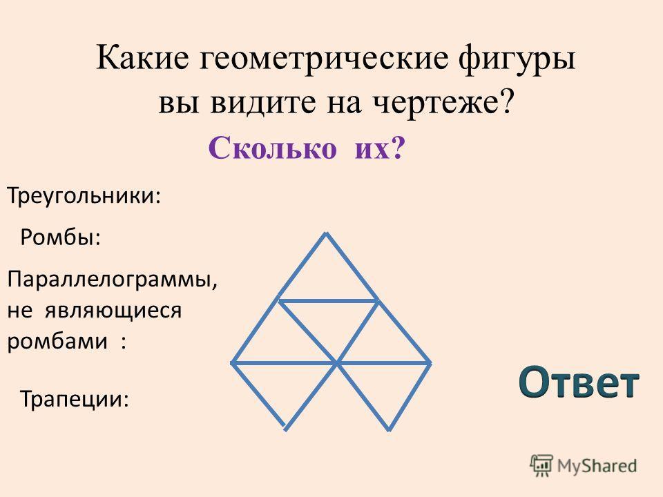 Какие геометрические фигуры вы видите на чертеже? Треугольники: Ромбы: Параллелограммы, не являющиеся ромбами : Трапеции: Сколько их?