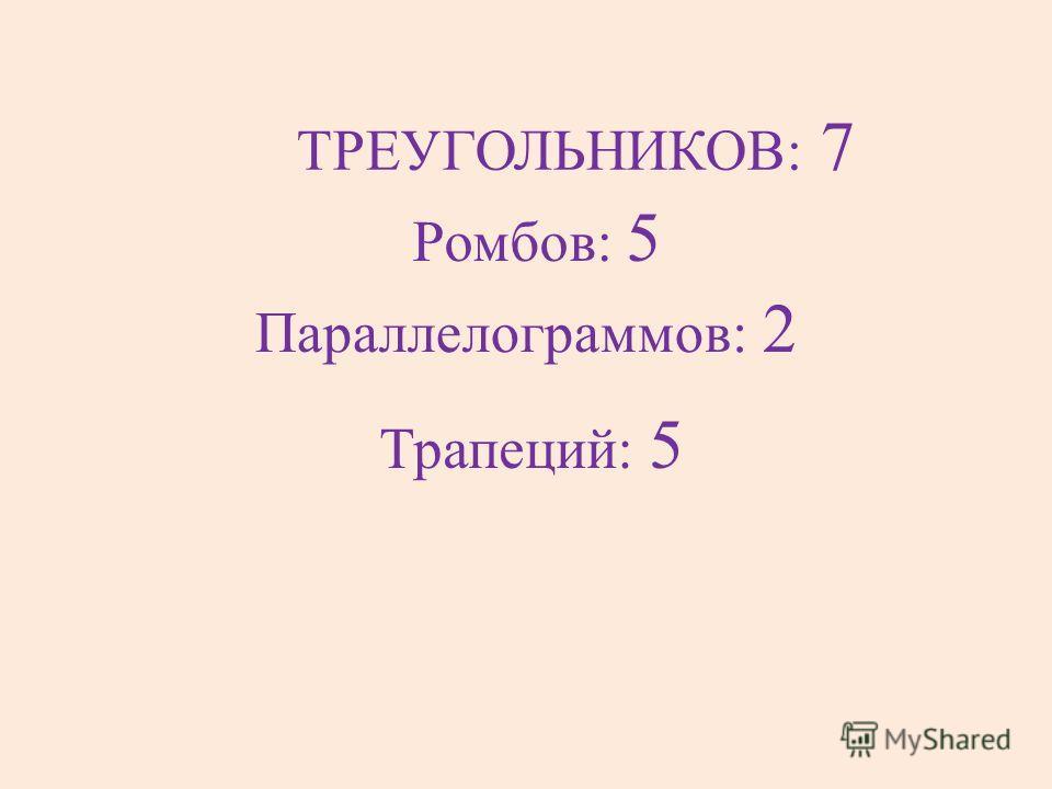 Трапеций: 5 Параллелограммов: 2 Ромбов: 5 ТРЕУГОЛЬНИКОВ: 7