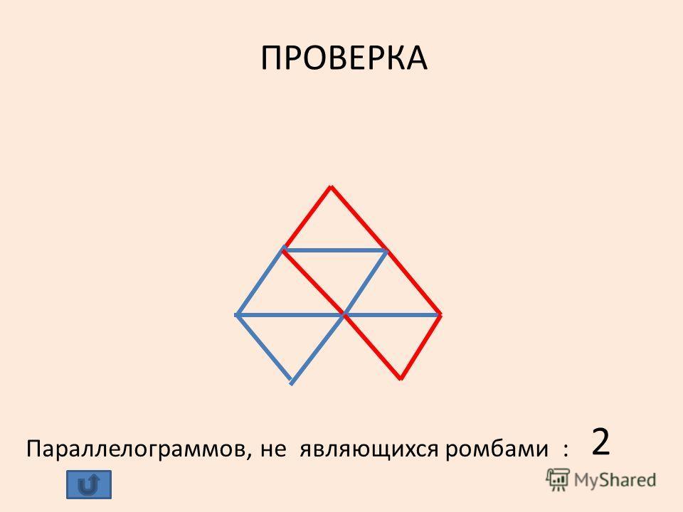 ПРОВЕРКА Параллелограммов, не являющихся ромбами : 2