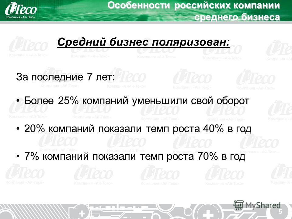 5 Особенности российских компании среднего бизнеса Средний бизнес поляризован: За последние 7 лет: Более 25% компаний уменьшили свой оборот 20% компаний показали темп роста 40% в год 7% компаний показали темп роста 70% в год