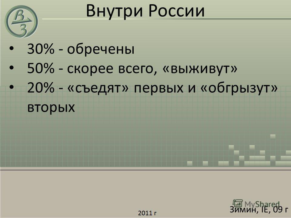 30% - обречены 50% - скорее всего, «выживут» 20% - «съедят» первых и «обгрызут» вторых Внутри России Зимин, IE, 09 г