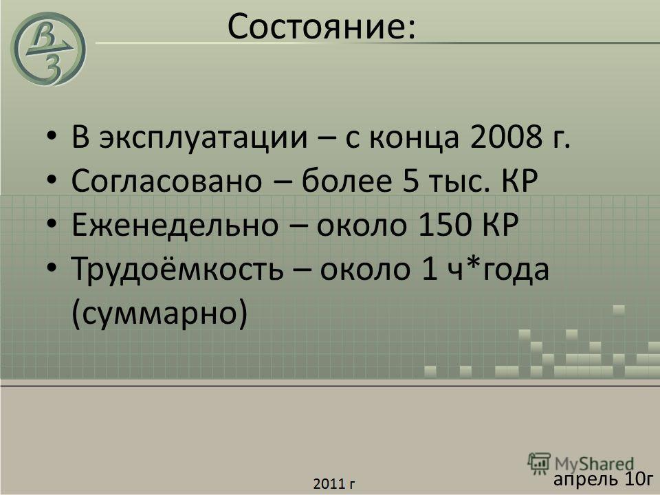 Состояние: В эксплуатации – с конца 2008 г. Согласовано – более 5 тыс. КР Еженедельно – около 150 КР Трудоёмкость – около 1 ч*года (суммарно) апрель 10г