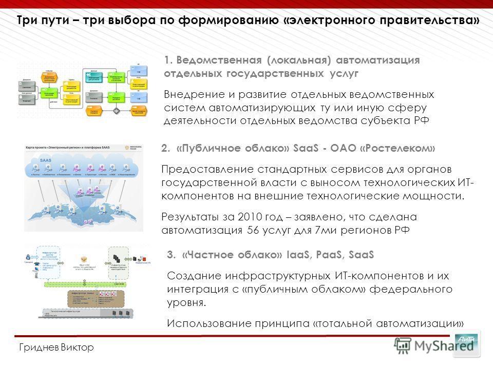 Page 3 Три пути – три выбора по формированию «электронного правительства» 2. «Публичное облако» SaaS - ОАО «Ростелеком» Предоставление стандартных сервисов для органов государственной власти с выносом технологических ИТ- компонентов на внешние технол