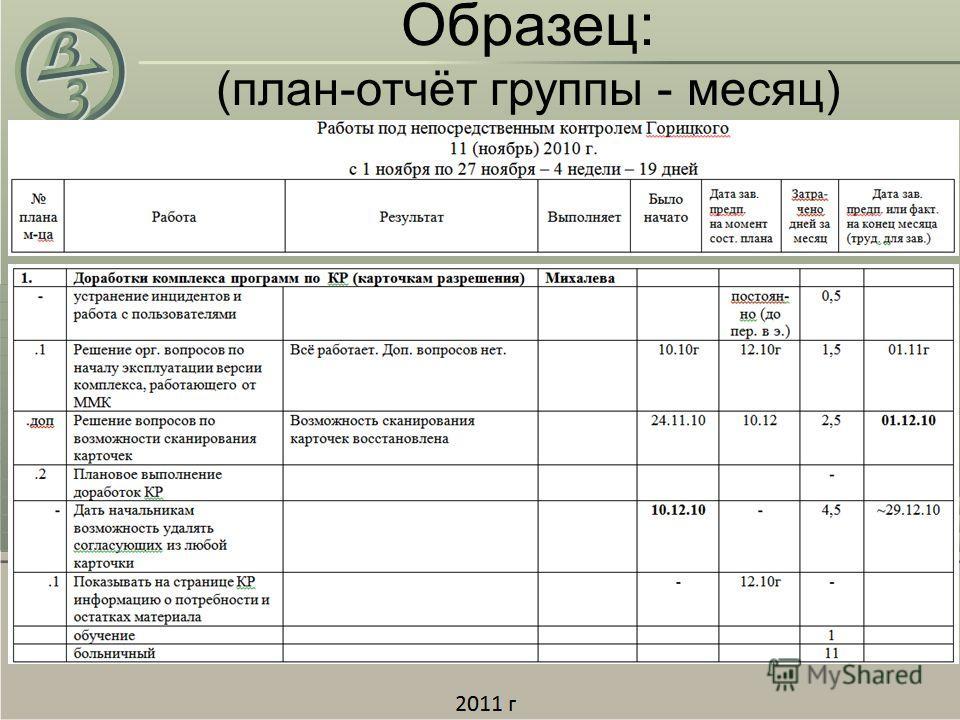 Образец: (план-отчёт группы - месяц)