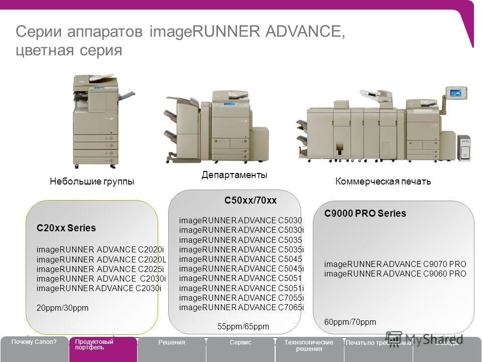 Серии аппаратов imageRUNNER ADVANCE, цветная серия 11 C20xx Series imageRUNNER ADVANCE C2020i imageRUNNER ADVANCE C2020L imageRUNNER ADVANCE C2025i imageRUNNER ADVANCE C2030i 20ppm/30ppm C50xx/70xx imageRUNNER ADVANCE C5030 imageRUNNER ADVANCE C5030i