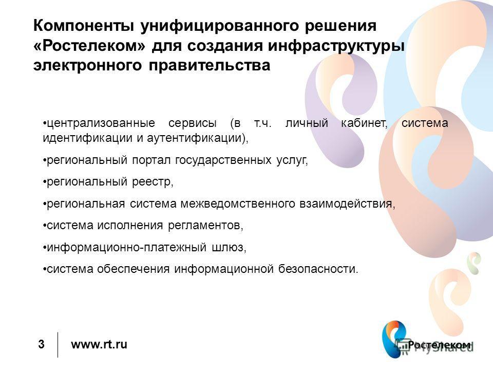 www.rt.ru Компоненты унифицированного решения «Ростелеком» для создания инфраструктуры электронного правительства централизованные сервисы (в т.ч. личный кабинет, система идентификации и аутентификации), региональный портал государственных услуг, рег