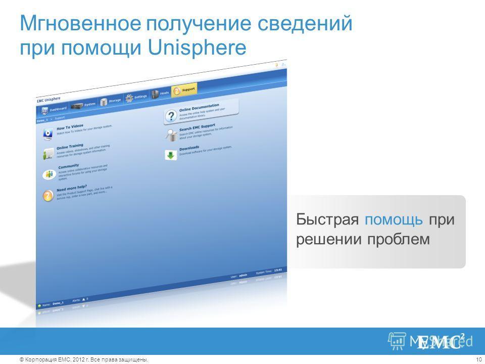 10© Корпорация EMC, 2012 г. Все права защищены. Мгновенное получение сведений при помощи Unisphere Быстрая помощь при решении проблем