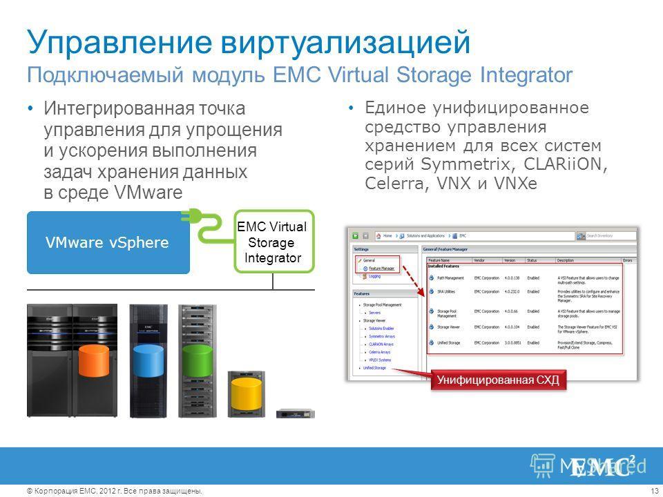 13© Корпорация EMC, 2012 г. Все права защищены. Управление виртуализацией Интегрированная точка управления для упрощения и ускорения выполнения задач хранения данных в среде VMware Подключаемый модуль EMC Virtual Storage Integrator Единое унифицирова