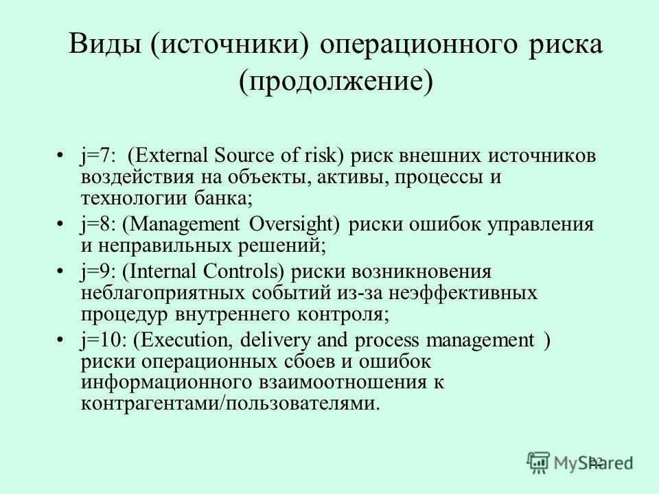 22 Виды (источники) операционного риска (продолжение) j=7: (External Source of risk) риск внешних источников воздействия на объекты, активы, процессы и технологии банка; j=8: (Management Oversight) риски ошибок управления и неправильных решений; j=9: