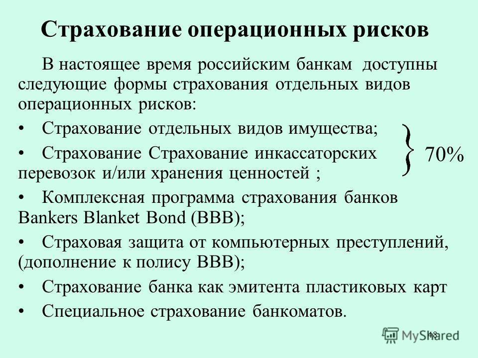 48 Страхование операционных рисков В настоящее время российским банкам доступны следующие формы страхования отдельных видов операционных рисков: Страхование отдельных видов имущества; Страхование Страхование инкассаторских перевозок и/или хранения це