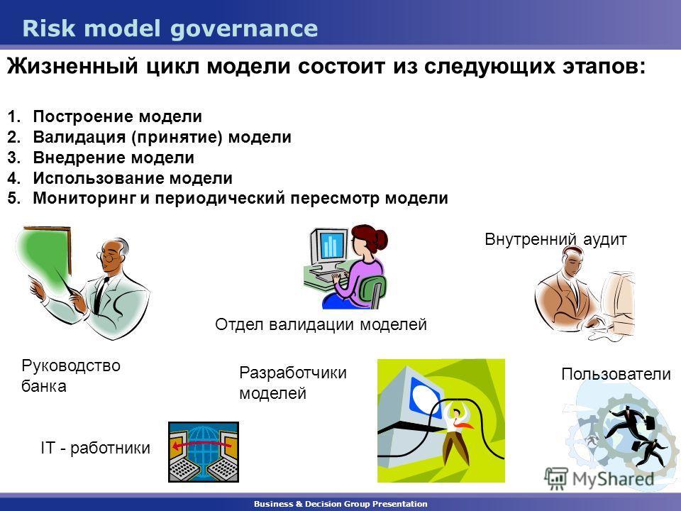 Business & Decision Group Presentation Risk model governance Жизненный цикл модели состоит из следующих этапов: 1.Построение модели 2.Валидация (принятие) модели 3.Внедрение модели 4.Использование модели 5.Мониторинг и периодический пересмотр модели
