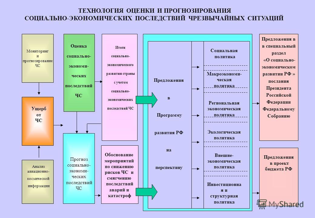 Оценка социально- экономи- ческих последствий ЧС Социальная политика Макроэкономи- ческая политика Региональная экономическая политика Экологическая политика Внешне- экономическая политика Инвестиционна я и структурная политика Предложения в Программ