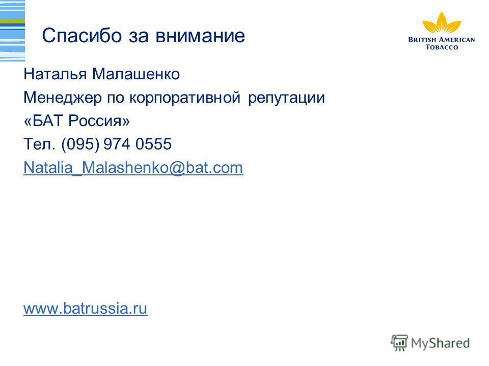 Спасибо за внимание Наталья Малашенко Менеджер по корпоративной репутации «БАТ Россия» Тел. (095) 974 0555 Natalia_Malashenko@bat.com www.batrussia.ru