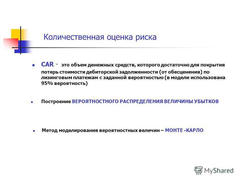 Количественная оценка риска CAR - это объем денежных средств, которого достаточно для покрытия потерь стоимости дебиторской задолженности (от обесценения) по лизинговым платежам с заданной вероятностью (в модели использована 95% вероятность) Построен
