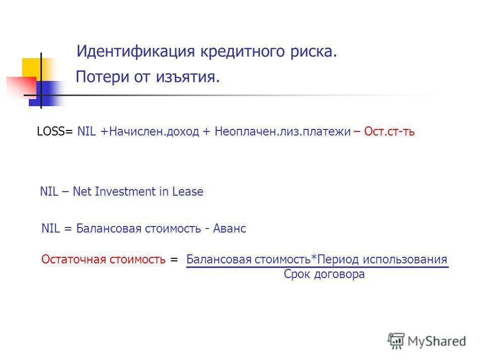 Идентификация кредитного риска. Потери от изъятия. LOSS= NIL +Начислен.доход + Неоплачен.лиз.платежи – Ост.ст-ть Остаточная стоимость = Балансовая стоимость*Период использования Срок договора NIL = Балансовая стоимость - Аванс NIL – Net Investment in