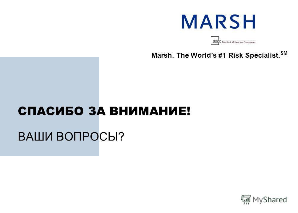 СПАСИБО ЗА ВНИМАНИЕ! ВАШИ ВОПРОСЫ? Marsh. The Worlds #1 Risk Specialist. SM