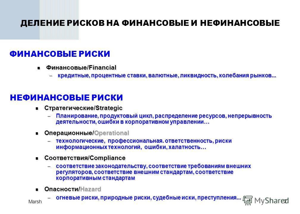 Marsh 2 ДЕЛЕНИЕ РИСКОВ НА ФИНАНСОВЫЕ И НЕФИНАНСОВЫЕ Финансовые/Financial Финансовые/Financial – кредитные, процентные ставки, валютные, ликвидность, колебания рынков... Стратегические/Strategic Стратегические/Strategic – Планирование, продуктовый цик